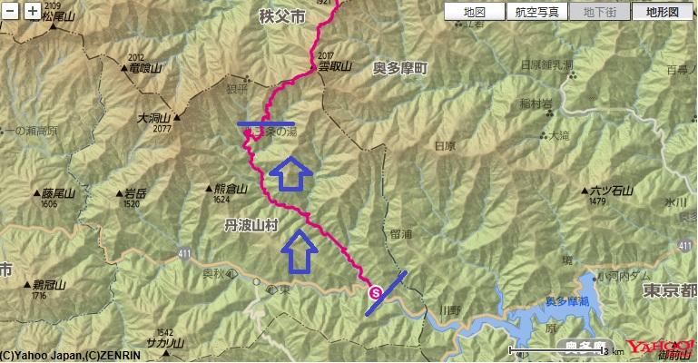 JR奥多摩駅~お祭りバス停~三条の湯への登山ルート