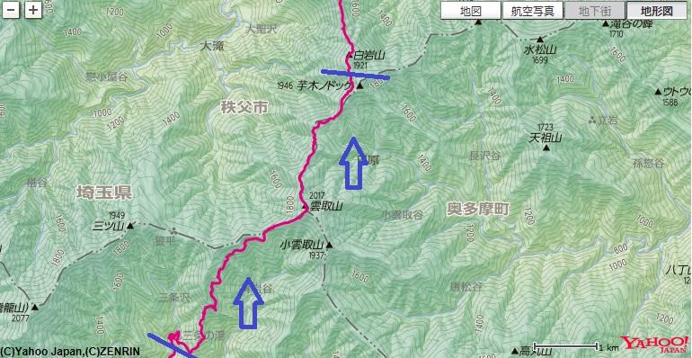 中編で歩いた三条の湯~雲取山~雲取山荘~芋ノ木ドッケまでの登山ルート