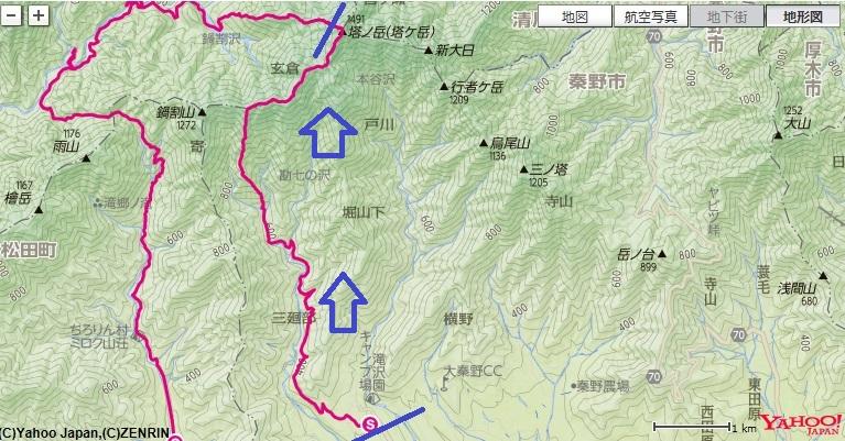 大倉バス停~マルガヤ尾根~小丸~大丸~塔ノ岳の登山ルート