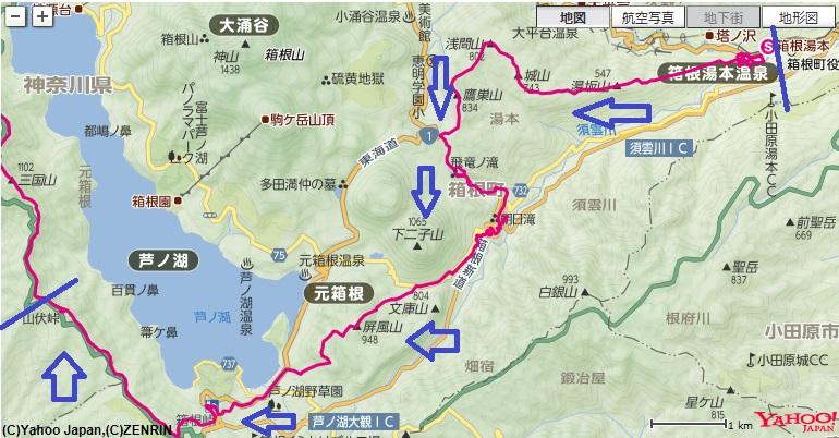 箱根湯本駅~浅間山~飛竜ノ滝~屏風山~箱根峠~山伏峠への登山ルート