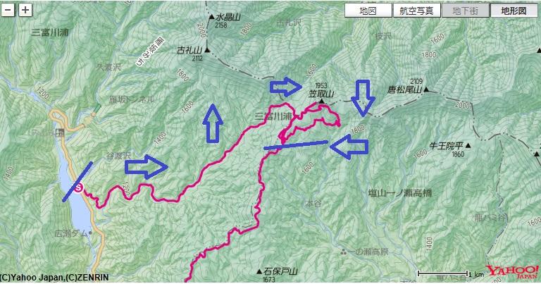 新地平バス停~雁峠~小さな分水嶺~水干~笠取小屋への登山ルート