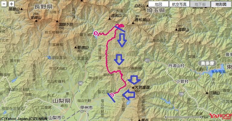笠取山~倉掛山~柳沢峠~丸川荘~大菩薩の湯への登山ルート