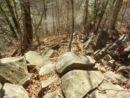 丸川荘から裂石急坂で道が悪く