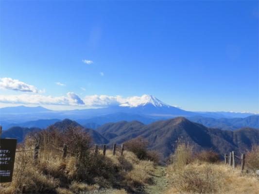 主脈縦走路見る富士山