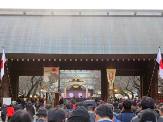 靖国神社で初詣大混雑