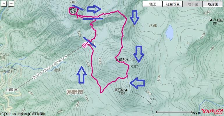 北横岳~三ッ岳~雨池山~縞枯山への登山ルート
