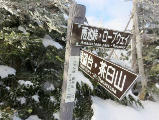 縞枯山の標高は2403m
