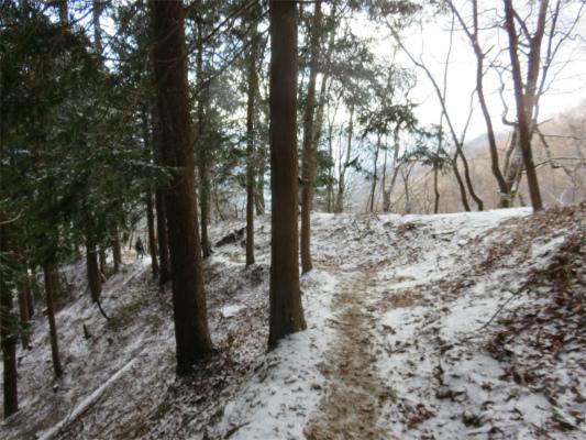 七ッ石小屋の手前から雪道