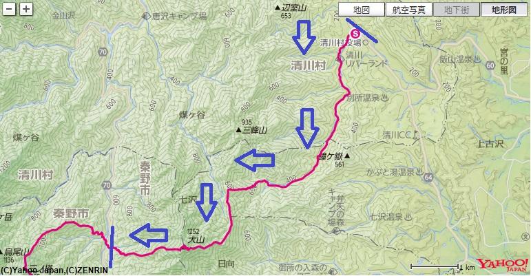 煤ヶ谷~不動尻~大山~諸戸尾根~山林事務所への登山ルート