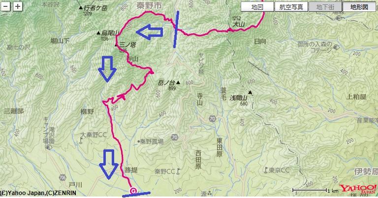 BOSCOキャンプ場~よもぎ尾根~三ノ塔避難小屋~二ノ塔~菩提への登山ルート