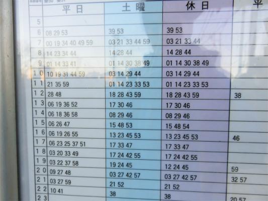 戸川入口バス停の時刻表