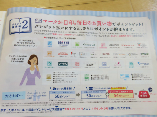 小田急OPクレジットカードのお得な内容と特典の詳細