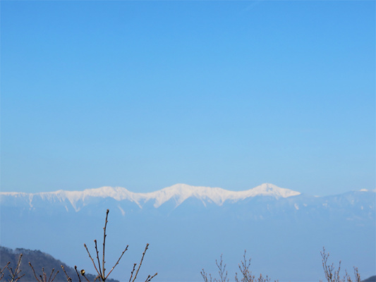 南アルプス白峰三山の景色が笹子雁ヶ腹摺山の山頂から見える
