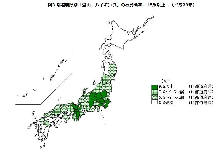 山ガール分布図登山者全体(男女合算)の都道府県別の行動率