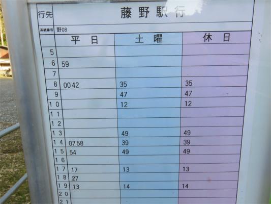 陣馬バス停の時刻表