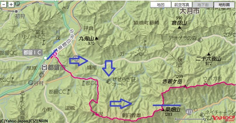 赤坂駅から出発し、仙人水~二十六夜山~今倉山~菜畑山への登山ルート
