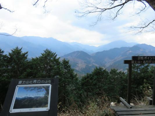 峰山の山頂からの道志山塊の景色