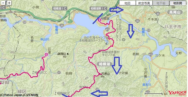 石老山・石砂山と道志山塊日帰り縦走の前編部分の地図
