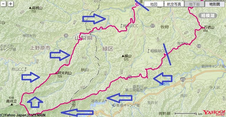 石砂山から出発し、伏馬田城址~ムギチロ~池ノ上~阿夫利山への登山ルート
