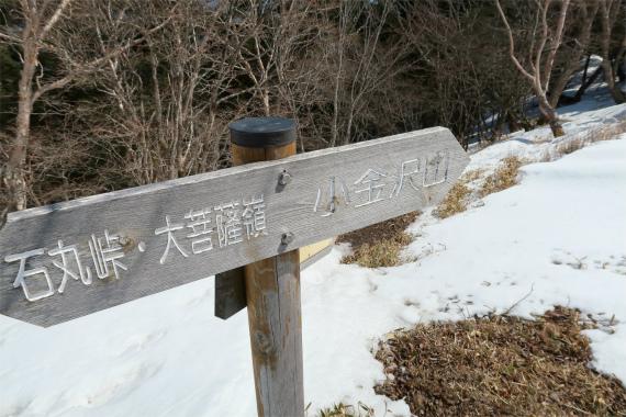 牛ノ寝縦走路と小金沢山への分岐