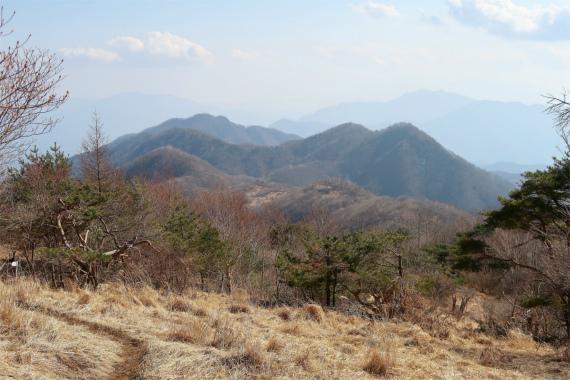 ハマイバ丸から見る大谷ヶ丸、滝子山周辺の景色