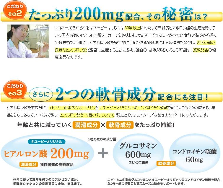 キユーピーヒアルロン酸&グルコサミン5粒で1日分に相当