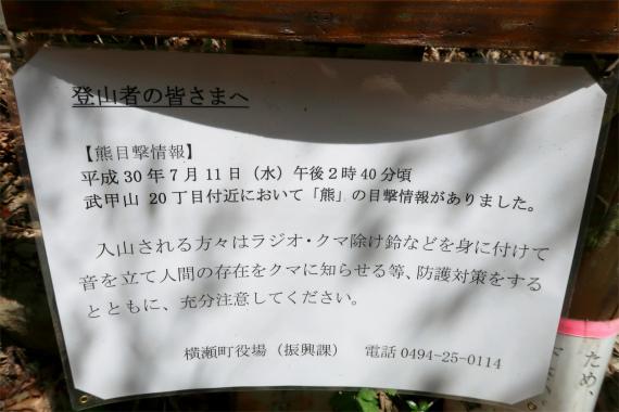 武甲山の20丁目付近でツキノワグマの目撃情報