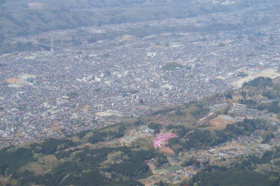 武甲山の眼下に羊山公園の芝桜
