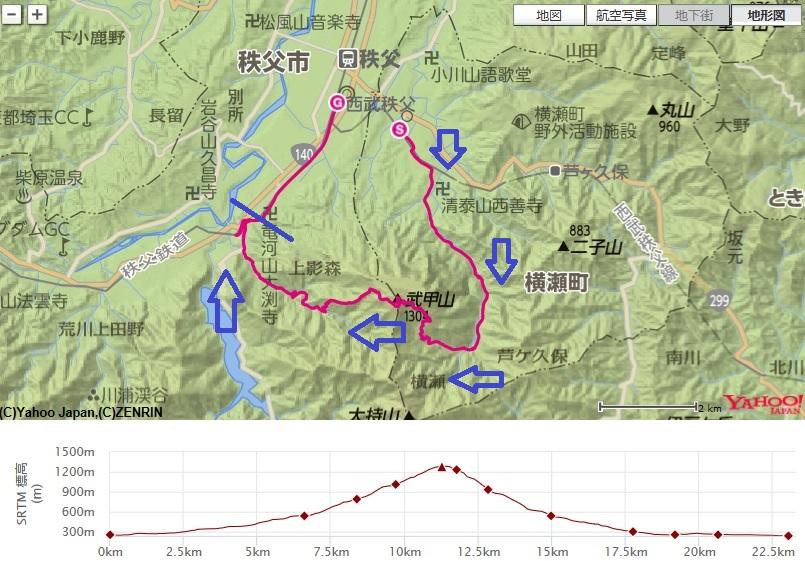 武甲山登山の地図