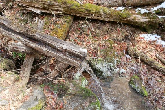 笠取小屋の水場の様子