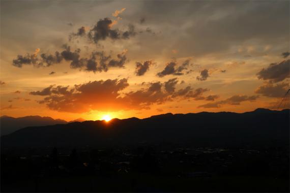 南アルプスが夕日綺麗