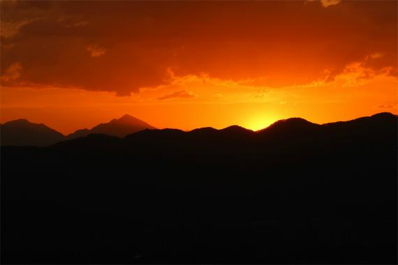大滝山南アルプスの夕日