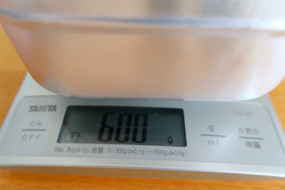 ラージメスティンお米3合を炊く時に使う水の量は600ml