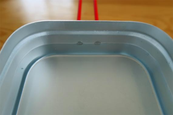 ラージメスティンで3合炊く時リベットの真ん中に水面が来るようにすれば600ml
