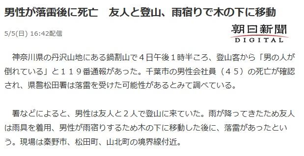 丹沢鍋割山で落雷があり登山者が死亡したニュース
