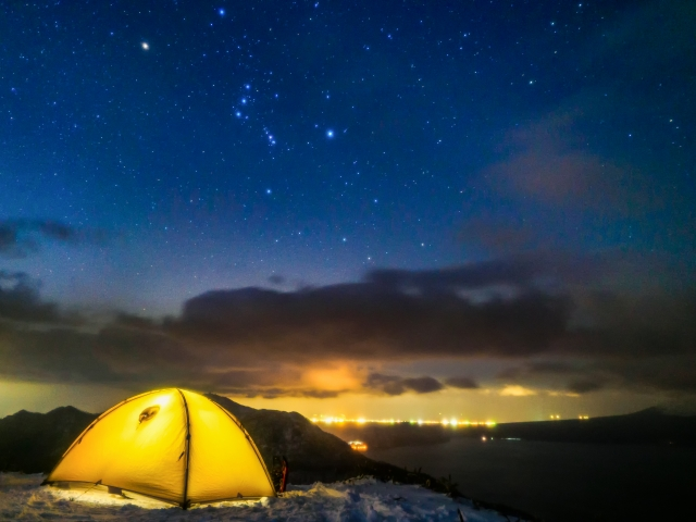 テント泊パッキングして夜景登山