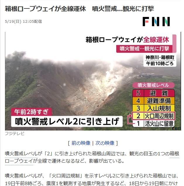 箱根山(大涌谷)周辺の火山活動ニュース