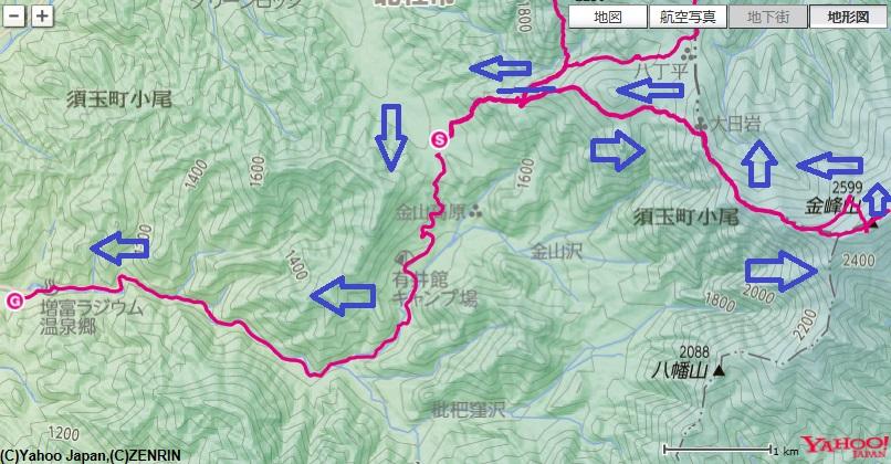 金峰山への登山ルート
