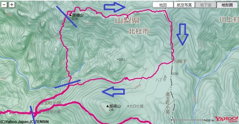 瑞牆山東尾根の登山ルート地図