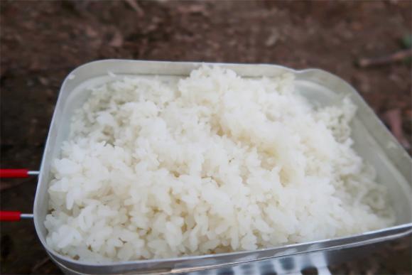 メスティンお米が炊けた