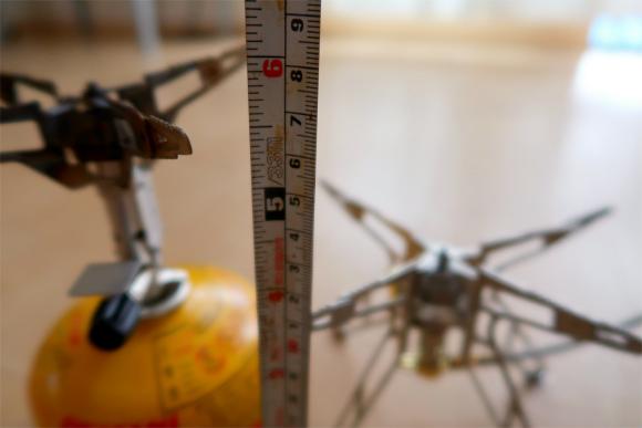 一体型のバーナーの高さは、約6cm