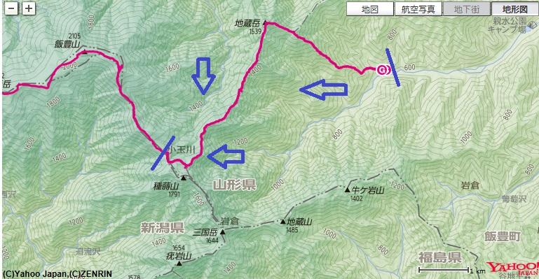 飯豊登山大日杉ルート~地蔵岳~切合小屋の登山地図