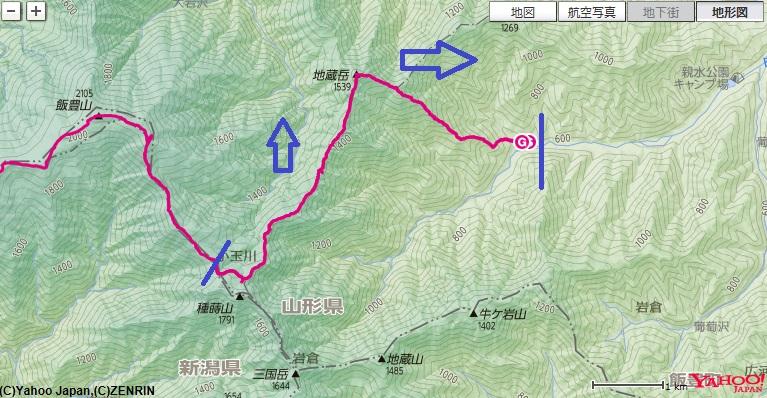 飯豊山の登山ルート地図と標高差