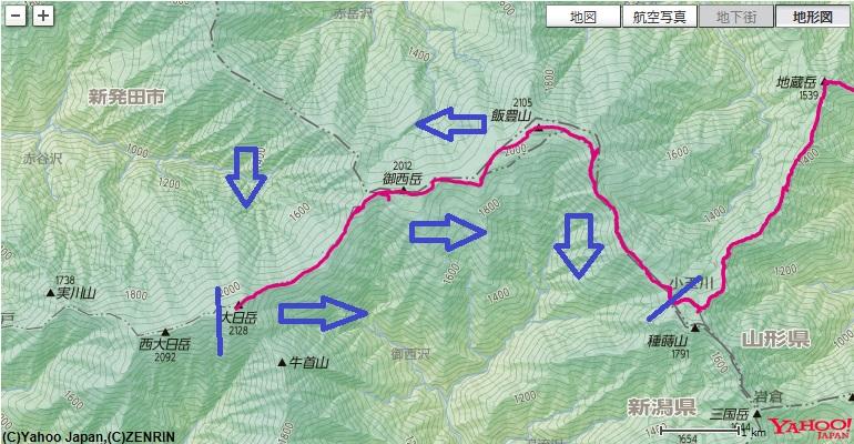 飯豊本山小屋から出発し、御西小屋(御西岳避難小屋)、飯豊連峰最高峰の大日岳へ登り、お宿の切合小屋のルート