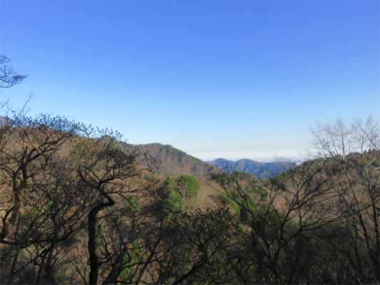 大山三峰山の境界尾根の先に仏果山、経ヶ岳から鷹取山の景色