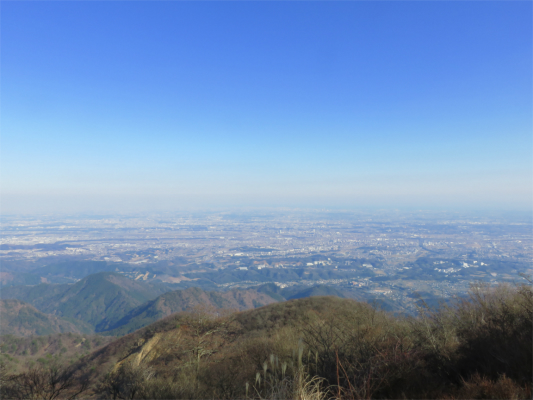 大山の山頂東京・横浜の景色