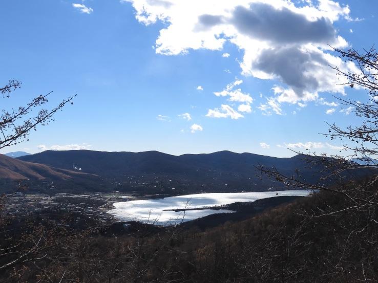 眼下に山中湖奥に見えている山並み三国ハイキングコース