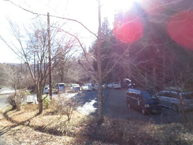 石割神社駐車場に下山