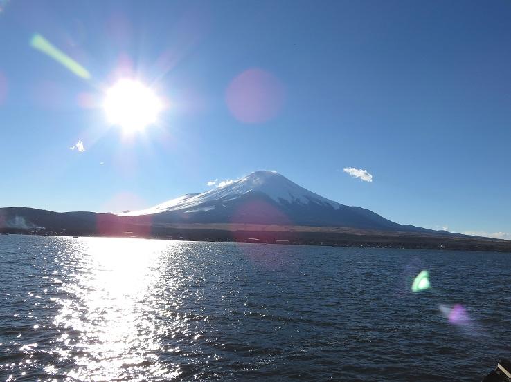 山中湖畔を散策富士山