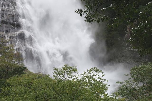 千尋滝大雨の影響で増水し迫力満点